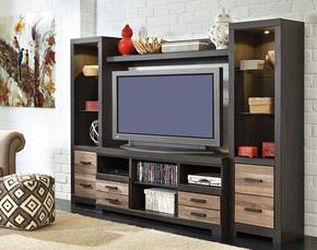 "Harlinton W3252PSB Entertainment Center with 63"" Wide Large TV Stand, Two 72.17"" Tall Piere Cabinets and Bridge in Warm Grey Finish"
