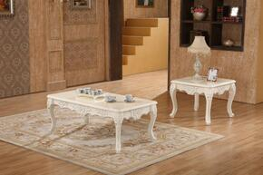 Verona 291CE 2 PC Living Room Table Set with Coffee Table + End Table in White Finish