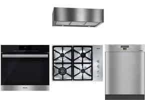 """4-Piece Stainless Steel Kitchen Package with KM3464LP 30"""" Liquid Propane Cooktop, DGC6860XXL 30"""" Single Wall Oven, DA1280 30"""" Under Cabinet Hood, and G5105SCSS 24"""" Full Console Dishwasher"""