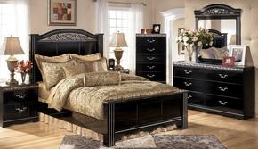 Constellations Queen Bedroom Set with Panel Bed, Dresser, Mirror and Nightstand in Deep Glossy Black