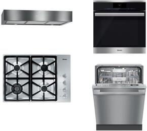 """4-Piece Stainless Steel Kitchen Package with KM3464LP 30"""" Liquid Propane Cooktop, DGC6860XXL 30"""" Single Wall Oven, DA1280 30"""" Under Cabinet Hood, and G6565SCVISF 24"""" Fully Integrated Dishwasher"""