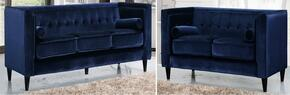Taylor Collection 642-NAVY-S-L 2 Piece Living Room Set with Sofa and Loveseat in Navy