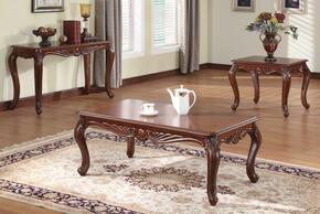 10240CES Birmingham Coffee Table + End Table + Sofa Table with Carved Apron Detail, Cabriole Legs, Selected Hardwood Solids and Veneers in Brown Cherry Finish