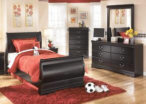 Huey Vineyard Twin Bedroom Set with Sleigh Bed, Dresser and Mirror in Black