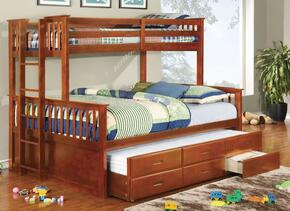 University CM-BK458Q-OAK-BED-TR Twin/Queen Bunk Bed with Trundle in Oak