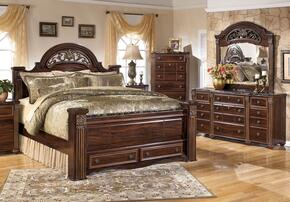 Gabriela Queen Bedroom Set with Poster Storage Bed, Dresser and Mirror in Dark Reddish Brown