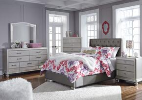 Coralayne Collection Full Bedroom Set with Panel Bed, Dresser, Mirror and Nightstand in Gray