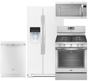 "4-Piece White Ice Kitchen Package with WRS586FIEH 36"" Side-by-Side Refrigerator, WFG540H0EH 30"" Freestanding Gas Range, WDT720PADH 24"" Fully Integrated Dishwasher and WMH53520CH 30"" Over the Range Microwave"