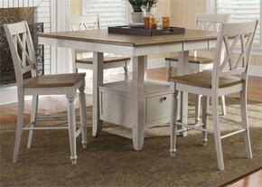 Al Fresco III Collection 841-CD-O5GTS 5-Piece Dining Room Set with Gathering Table and 4 Double X Back Counter Chairs in Driftwood & Sand Finish