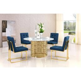 Victoria Collection MER5PCRODH4BLUKIT1 5-Piece Dining Room Sets with Round Dining Table, and 4x Blue Dining Chairs in Gold
