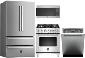 "4-Piece Kitchen Package with REF36X 36"" French Door Refrigerator, MAS365GASXE 30"" Electric Freestanding Range, DW24XV"