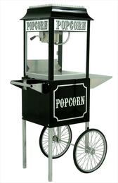 "1104820KIT2 4-Oz. 18"" 1911 Antique Poppers Black and Chrome Popcorn Machine with Hard-coat Anodized Aluminum Kettle, Built-in Warming Deck in Black and Popcorn Machine Cart for Storage"