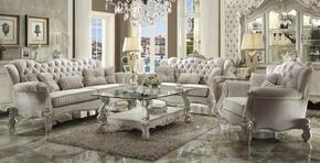 521256PC Versailles 6 PC Living Room Set with Sofa, Loveseat, Chair, Coffee Table and 2 End Tables in Bone White