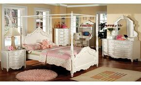 Victoria Collection CM7519TBDMCN 5-Piece Bedroom Set with Twin Bed, Dresser, Mirror, Chest, and Nightstand in Pearl White Finish