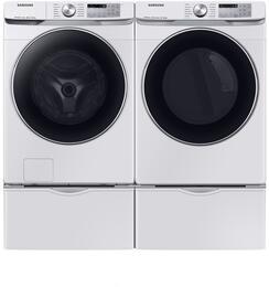 Samsung 1011070 Side by Side with Pedestals Front Load Gas Laundry Pair Set