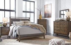 Larsen Collection King Bedroom Set with Panel Bed, Dresser, Mirror, 2x Nightstand and Chest in Brown
