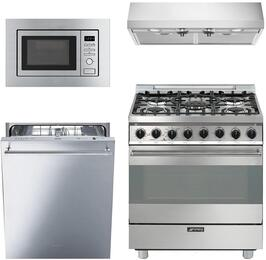 "4-Piece Stainless Steel Kitchen Package with C30GGXU1 30"" Freestanding Gas Range, KUC30X 30"" Under Cabinet Hood, MI20XU 24"" Built In Microwave, and STU8649X 24"" Fully Integrated Dishwasher"