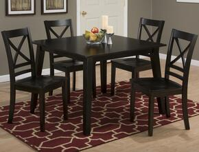 Simplicity Collection 55242XSET 5 PC Dining Room Set with Square Dining Table + 4 X-Back Chairs in Espresso Finish
