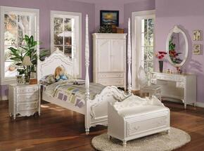 Pearl Collection 01000TNBCDM 6 PC Bedroom Set with Twin Size Bed + Nightstand + Bench + Mirror + Desk + Chair in Pearl White and Gold Accents Finish