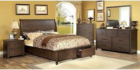 Ribeira Collection CM7252KBDMCN 5-Piece Bedroom Set with King Storage Bed, Dresser, Mirror, Chest and Nightstand in Dark Walnut Finish