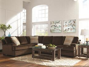 Robion 501147SET 3 PC Living Room Set with Sectional Sofa + End Table + Coffee Table in Chocolate and Brown Color
