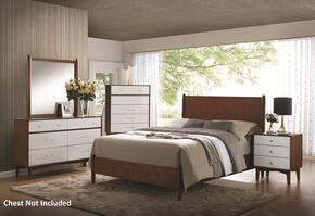 Charity Collection 204301Q4PC 4-Piece Bedroom Set with Queen Panel Bed, Night Stand, Dresser and Mirror in Golden Brown & White Finish
