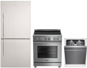 "3-Piece Kitchen Package with BRFB1812SSN 30"" Bottom Freezer Refrigerator, BDFP34550SS 30"" Slide-in Electric Range, and a free DWT59500SS 24"" Built In Fully Integrated Dishwasher in Stainless Steel"
