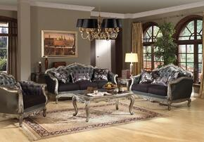 Chantelle 51540SLCT 6 PC Living Room Set with Sofa + Loveseat + Chair + Coffee Table + End Table + Sofa Table in Antique Platinum Finish