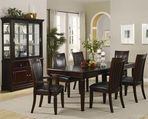 Ramona Collection 101631SETA 8 PC Dining Room Set with Table + 4 Side Chairs + 2 Arm Chairs + China Cabinet in Rich Brown Finish