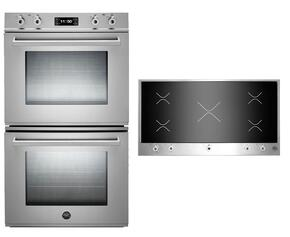 "Professional 2-Piece Stainless Steel Kitchen Package with FD30PROXT 30"" Double Electric Wall Oven and PM360IGX 36"" Electric Cooktop"