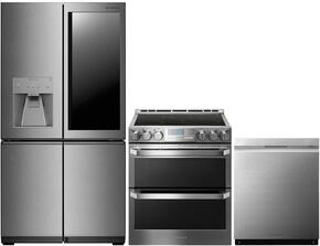 "4-Piece Stainless Steel Kitchen Package with LUPXS3186N 36"" French 4 Door Refrigerator, LUTE4619SN 30"" Slide-In Electric Range and LUDP8997SN 24"" Fully Integrated Dishwasher"