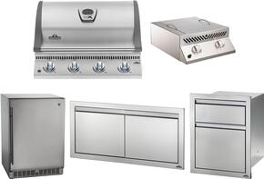 """5-Piece Stainless Steel Outdoor Package with BILEX485PSS1 29"""" Liquid Propane Grill, Side Burner, Outdoor Refrigerator, Access Door, and Storage Drawers"""
