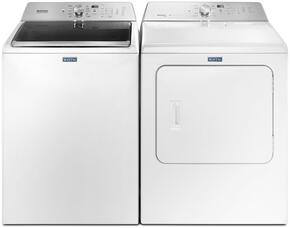 "Maytag White Top Load Laundry Pair with MVWB765FW 28"" Washer with MEDB755DW 29"" Electric Dryer"