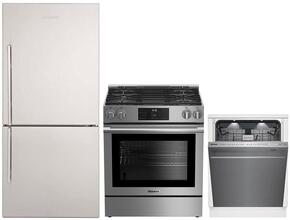 "3-Piece Kitchen Package with BRFB1812SSN 30"" Bottom Freezer Refrigerator, BGRP34520SS 30"" Freestanding Gas Range, and a free DWT59500SS 24"" Built In Fully Integrated Dishwasher in Stainless Steel"