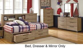 Dexifield 3-Piece Bedroom Set with Full Size Bookcase Bed, Dresser and Mirror Beige Brown