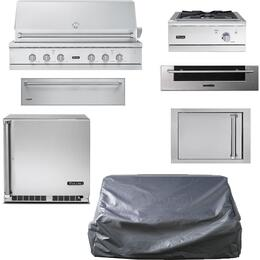 "7-Piece Stainless Steel Outdoor Package with 54"" Liquid Propane Grill, Side Burner, Access Door, Storage Drawer, Outdoor Refrigerator, Warming Drawer, and Grill Cover"