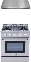 "2-Piece Stainless Steel Kitchen Package with HRD4803U 48"" Dual Fuel Freestanding Range, and HRH3006U 48"" Under Cabinet Range Hood"