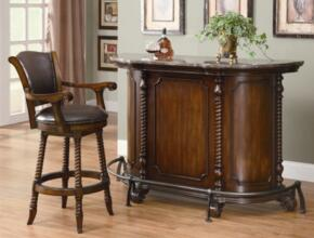 100678 Bar Unit and Bar Stool with Distressed Detailing, Molding Detail and Wine Rack in Warm Brown Cherry Finish
