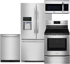 "4-Piece Stainless Steel Kitchen Package with FGHF2366PF 36"" French Door Refrigerator, FGEF3035RF 30"" Electric Range, FGID2476SF 24"" Fully Integrated Dishwasher and FGMV175QF 30"" Over-the-Range Microwave"