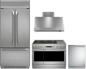 "4-Piece Professional Stainless Steel Kitchen Package with ZIPP360NHSS 36"" French Door Refrigerator, ZGP364NDRSS 36"" Nautral Gas Range (4 Burners and Griddle), ZV36SSJSS 36"" Range Hood and ZDT915SPJSS 24"" Fully Integrated Dishwasher"