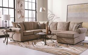 Fairhaven 501149SET 3 PC Living Room Set with Sectional Sofa + Coffee Table + End Table in Cream and Bronze Color