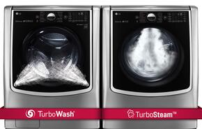 "TwinWash Graphite Steel Front Load Laundry Pair with WM9000HVA 29"" Washer with and DLEX9000V 29"" Electric Dryer"