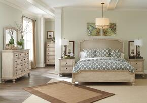 Demarlos Queen Bedroom Set with Upholstered Panel Bed, Dresser and Mirror in Parchment White Finish