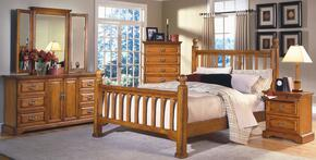 1133EPBDMCN Honey Creek 5 Piece Bedroom Set with King Poster Bed, Dresser, Mirror, Nightstand and Chest, in Caramel