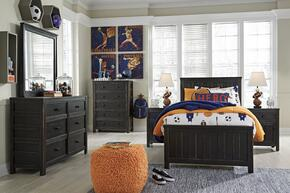 Jaysom Twin Bedroom Set with Panel Bed, Dresser, Mirror, 2x Nightstand and Chest in Black