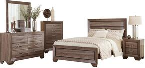 Kauffman 204191KESET 5 PC Bedroom Set with Eastern King Size Panel Bed + Dresser + Mirror + Chest + Nightstand in Washed Taupe Color