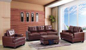 G580ASET 3 PC Living Room Set with Sofa + Loveseat + Armchair in Brown Color