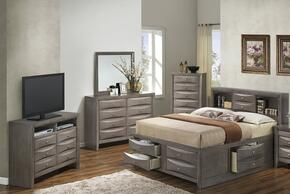 G1505GFSB3CHDMTV2 5 Piece Set including Full Size Bed, Chest, Dresser, Mirror and Media Chest  in Gray