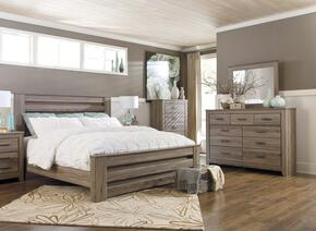 Zelen King Bedroom Set with Poster Bed, Dresser and Mirror in Warm Grey