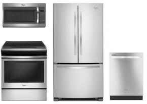 """4 Piece Kitchen package With WEE510S0FS 30"""" Electric Range, WMH31017FS Over The Range Microwave, WRF535SMBM 36"""" French Door Refrigerator and WDT720PADM 24"""" Built In Dishwasher In Stainless Steel"""